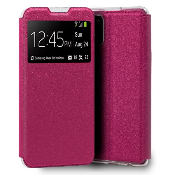 funda flip cover para samsung galaxy a02s liso rosa 1